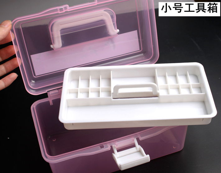 Quality nail art tool box nail art supplies box translucent storage box finishing plastic double layer Small