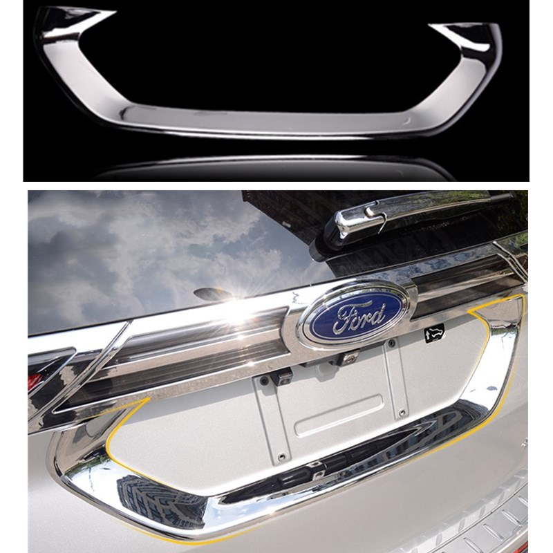car abs trunk trim License plate frame styling cover for ford edge sport accessories 2015 car trunk trim strip for ford edge abs chromium styling car boot cover 3d stickers cover for ford edge 2015 2016 accessories