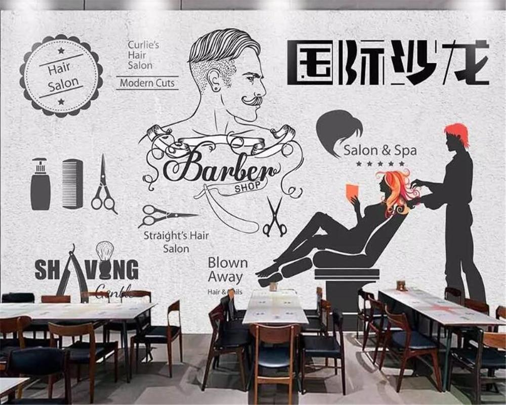 Beibehang Wallpaper For Walls 3 D Brick Wallpaper Black And White International Salon Photo Wallpaper Hairdressing Tooling Wall