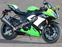 Hot Sales,For Kawasaki Ninja ZX 10R 2008 2009 2010 Parts ZX10R 08 10 ZX 10R Green Black Motorcycle Fairing (Injection molding)