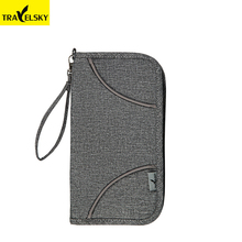 Travelsky RFID Blocking Travel Wallet Large Capacity Men Passport Cover Portable Travel Credit Card Holder Fashion Women Purse