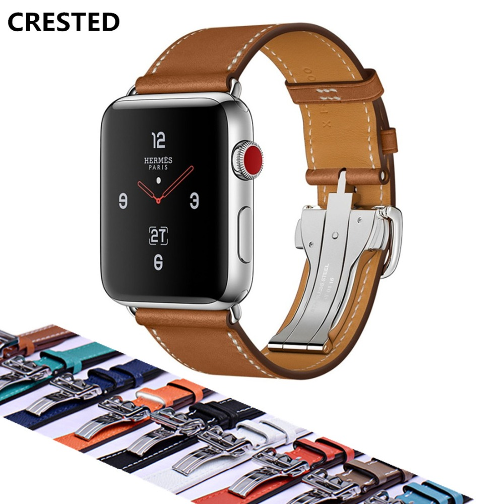 CRESTED Leather Deployment Buckle strap For Apple watch 4 band 44mm/40mm belt iwatch 42mm/38mm 3/2/1 Single Tour wrist Bracelet цена