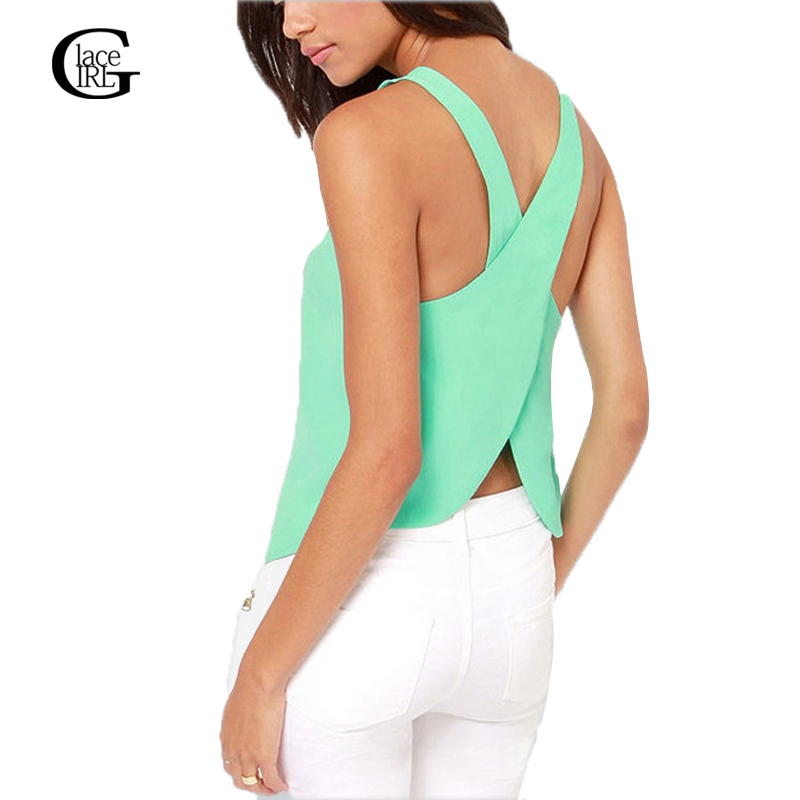Big Sale Summer Strap Chiffon Blouses Crop Tops Short Shirts For Women Blouses Candy Color Shirts Sexy Backless Ladies Vest
