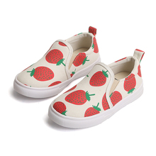 COZULMA Baby Girls Breathable Canvas Shoes Fashion Kids Cute Strawberry Print Casual Childrens Slip-on Size 21-30