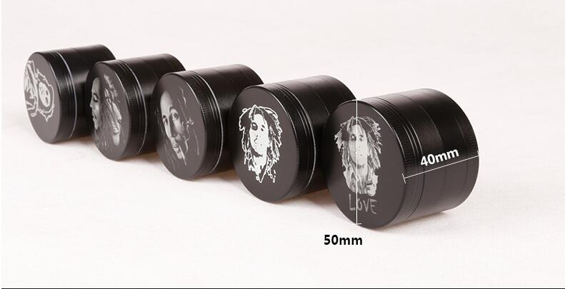50pcs/lot GRINDER for men black 4-layer smoke detectors grinder crusher to cut tobacco herb as pipe accessary
