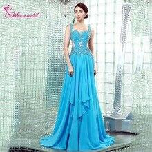 Alexzendra Sky Blue Chiffon A Line Prom Dresses 2018 Straps Crossed Back  Long Party Dresses Plus 13cccae8da9d