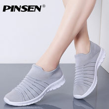 PINSEN 2019 Summer Women Sneakers Breathable Mesh Casual Flats Shoes Women Loafers Basket Femme Ladies Shoes tenis feminino(China)