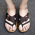2017 Nuevo Verano Transpirable Zapatillas Suprema Moda Hecha A Mano Flip Flop Caminar Al Aire Libre Playa Sandalias de Los Hombres Sandalias Planas