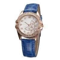 2017 hot sale Women Casual Creative Beautiful Flower Clock Diamond Quartz Watch Crystal Analog Wristwatch Dial Lady