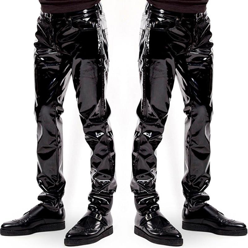 Grande taille Lingerie Sexy pantalons exotiques PU Latex Sexy Catsuit Zipper PVC scène Clubwear pantalons exotiques pantalons hommes gais grande taille