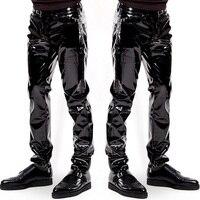 Plus Size Sexy Lingerie Exotic Pants PU Latex Sexy Catsuit Zipper PVC Stage Clubwear Exotic Pants Gay Mens Pants Plus Big Size