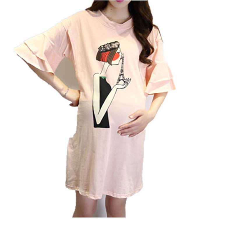 NewCasual Maternity Dress Short Sleeve Nursing Pink Printing Cotton Dress For Pregnancy Clothes Outwearable Breastfeeding Dress