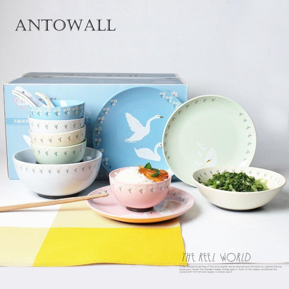 Ensemble de vaisselle en céramique ANTOWALL Simple personnalité 15 pièces plat assiette bol ensemble hôtel restaurant cygne plats maison