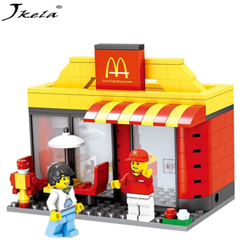 Series Mini Street Model Store Shop with Apple Store McDonald`s Building Block Toys Compatible with Legoingly street
