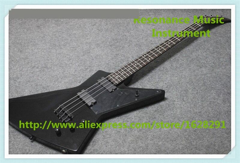 Nouvelle Arrivée Chinois 4 Chaîne Explorer Électrique Basse Guitares En Brillant Noir Pour Vente