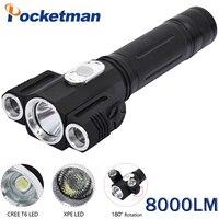 8000 Lumens Lanterna Tatica Lampe Torche LED Flashlight 180 Degree Adjustable Torch 3LEDs Cree Rotating Camping
