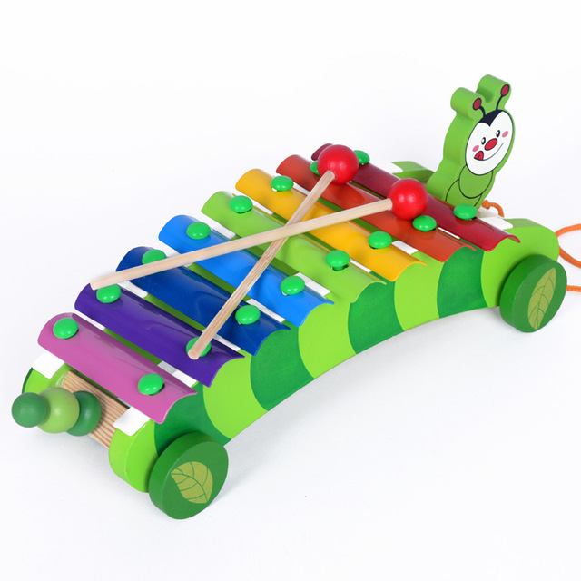 Baby Early Education Wooden Xylophone 8 Scales Kids Toys Musical Instrument Knock Drag Animal Hand Struck Piano TY90