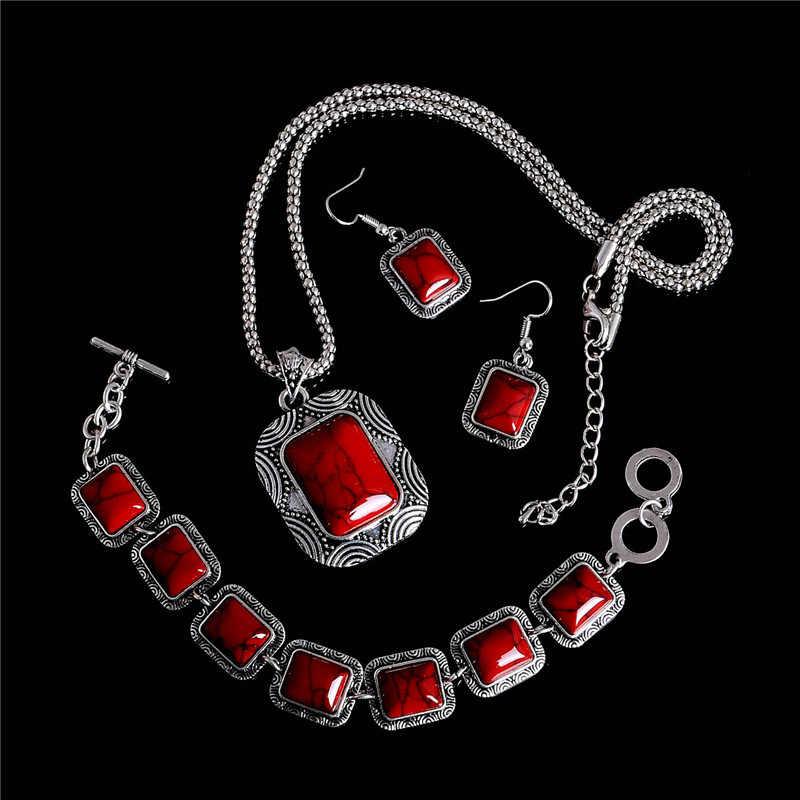 H: Гайд Красный винтажный натуральный камень ювелирные наборы серебряный цвет большой колье ожерелье Висячие серьги для женщин богемный комплект ювелирных изделий