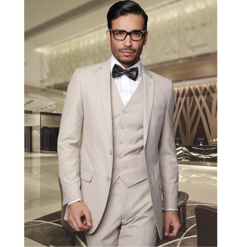 For people with rich taste, there are the fabulous men's Italian beige suits with 3 buttons made from quality fabric, 3 piece vested suits made from 's wool and 1 button notch lapel tan/beige suit, made from super 's soft light wool.