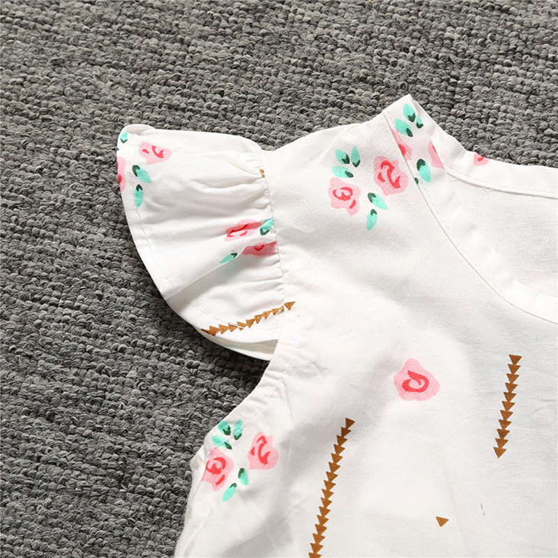 E Bainel Baby Girls Clothes Summer Toddler Baby Dress Frill Sleeve Cotton Infant Girl Dresses Princess Floral Print Sleeveless in Dresses from Mother Kids