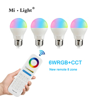 Mi Light 2.4G AC110V 220V E27 6W Wifi RGBWW RGB+CCT LED Lamp Wireless Brightness adjusting Dimmable LED Bulb