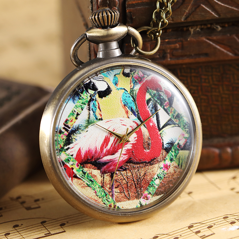 Vintage Pink Flamingo Pattern Pocket Watch Men Women Elegant Necklace Pendant Retro Painted Steampunk Bronze Pocket Watch Gifts 42 xdzs 260 elegant pink flamingo print art