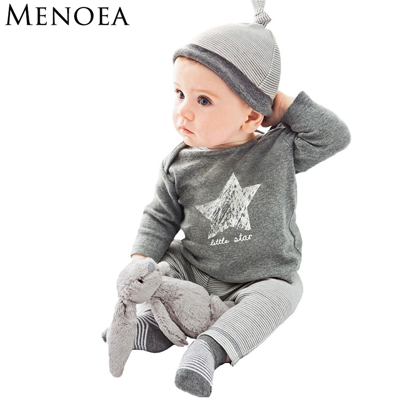 Menoea Autumn Fashion Style baby boy girl clothes casual 3pcs (Hat + T-shirt+pants) The stars baby boys clothing sets