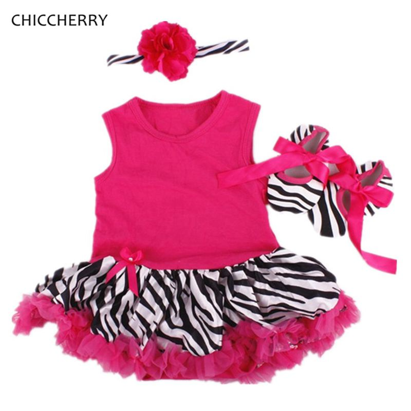 2 Colors Zebra Print Baby Girl Clothes Toddler Lace Romper Dress Newborn Tutu Sets Headband & Shoes Vestido Bebe Party Outfits 3d love baby girl valentine day clothes heart toddler lace romper dress bow headband set vestido bebe wedding party outfits