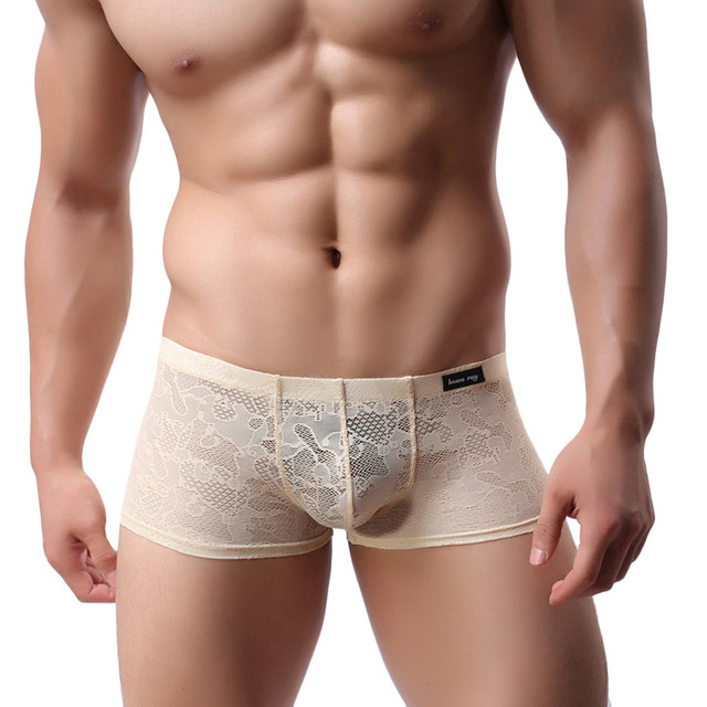 2017 New Fashion Mens Sexy Translucent Boxer Briefs Intimates Soft Lace Floral Ventilate Exotic Boxer Sexy Shorts Underpants