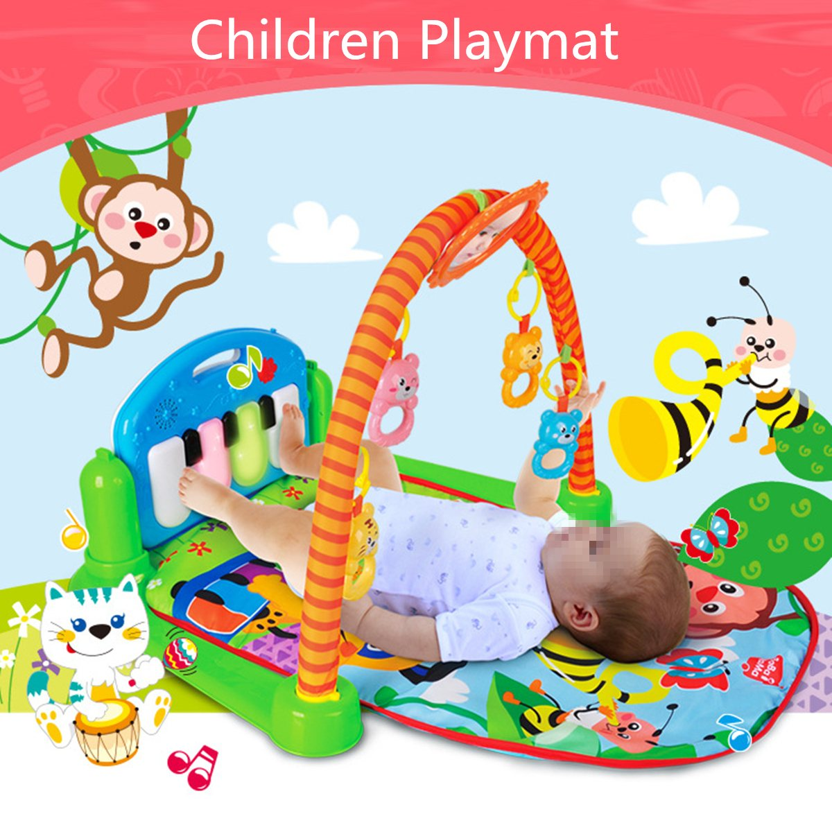 3 In 1 Rainforest Musical Lullaby Baby Activity Playmat Gym Toy Soft Play Mat Baby Infant