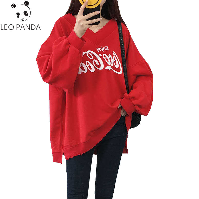 Spring Autumn New Women Letter Prints Side Slit V-Neck Droop-Shoulder Sweatshirts Female Loose Casual Fashion Sweatshirts ZX906