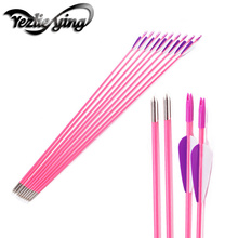 12/24PCS 30inch Spine1200 Pink Fiberglass Archery Arrows Purple white feather Suitable for ladies /girls outdoor hunting archery