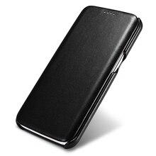 Icarer original luxo caso de couro genuíno para samsung galaxy s7/s7 borda ultra fina flip capa casos do telefone móvel acessórios