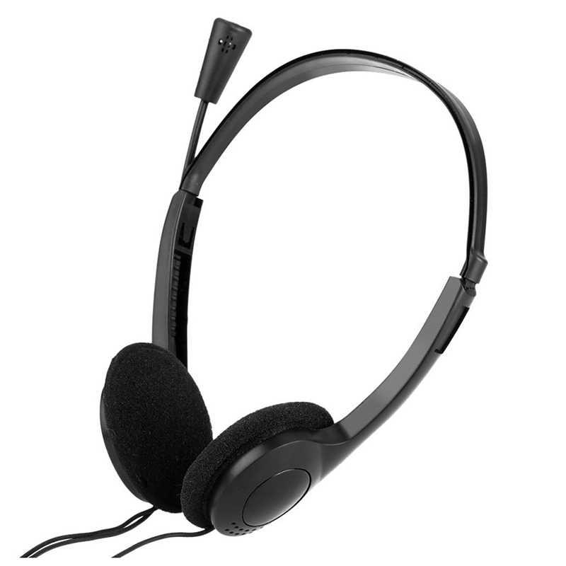 Super bas 3.5mm przewodowe słuchawki stereo z redukcją szumów słuchawka z mikrofonem regulowany pałąk na komputer Laptop