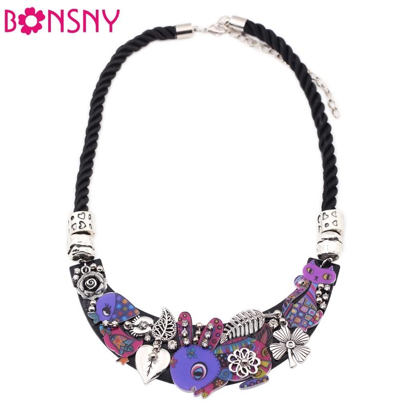 Bonsnyウサギ鳥猫襟ネックレスアクリルパターン声明チョーカーネックレスファッションブランドジュエリー女性女の子