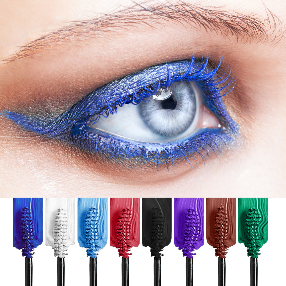 HUAMIANLI Colorful Green Blue Mascara Waterproof Lengthening Curling Eye Lashes Silicone Women Professional Makeup 3D Mascara 4