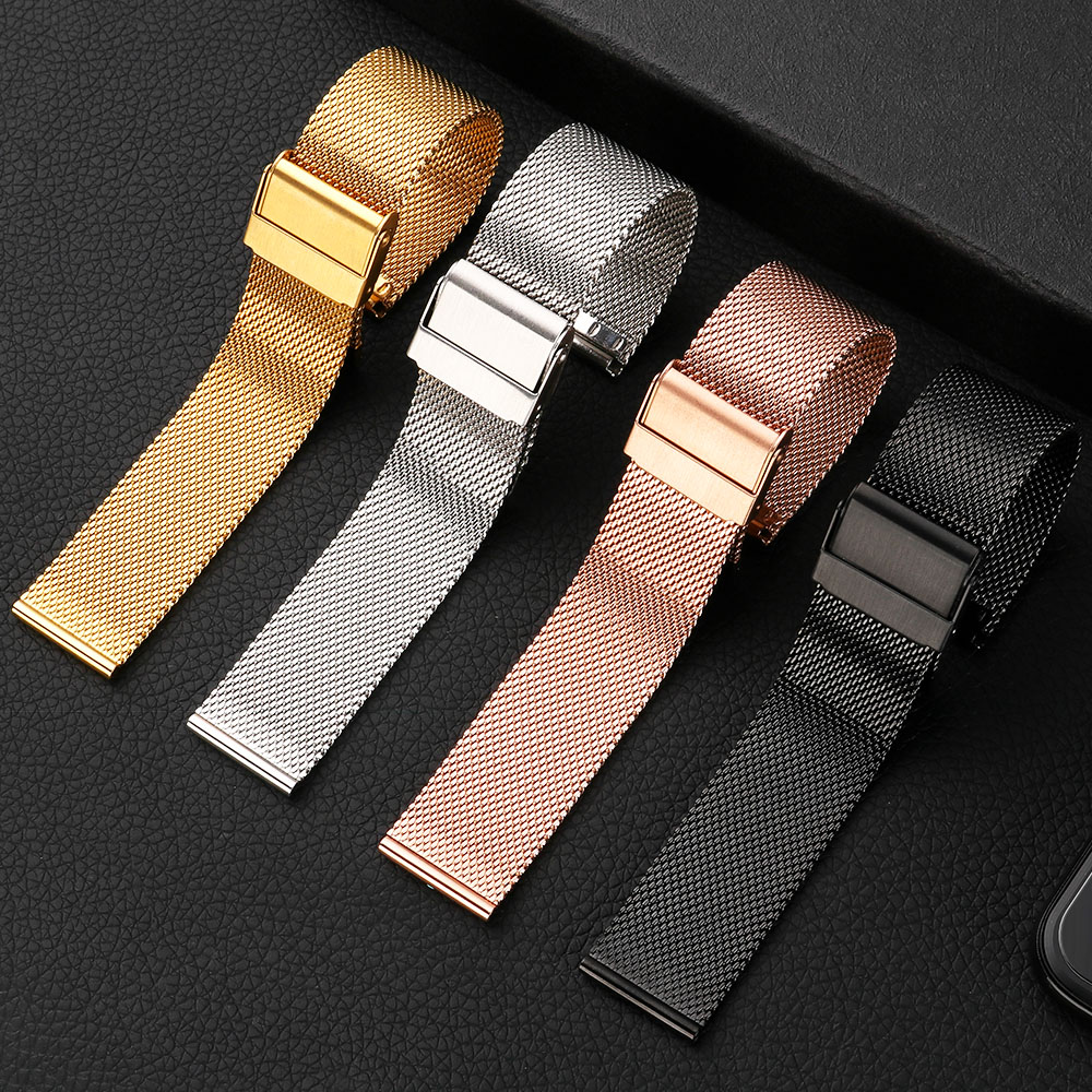Milanese Watchband 18mm 20mm 22mm 24mm Universal Stainless Steel Metal Watch Band Strap Bracelet Black Rose Gold Silver MU SEN