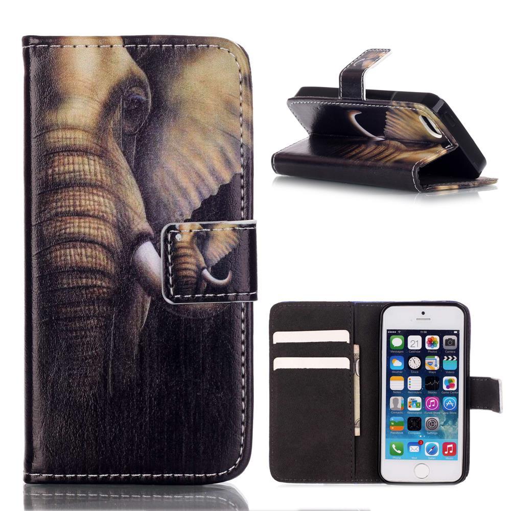 ΞPara el iPhone 5S cuero orejas de elefante Cartera de cuero para ...