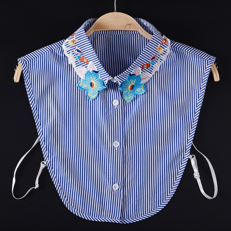 Spring New Design Women Striped Detachable Collar High Quality Embroidery Floral Chiffon Remove Shirt Blouse Decorative Collar