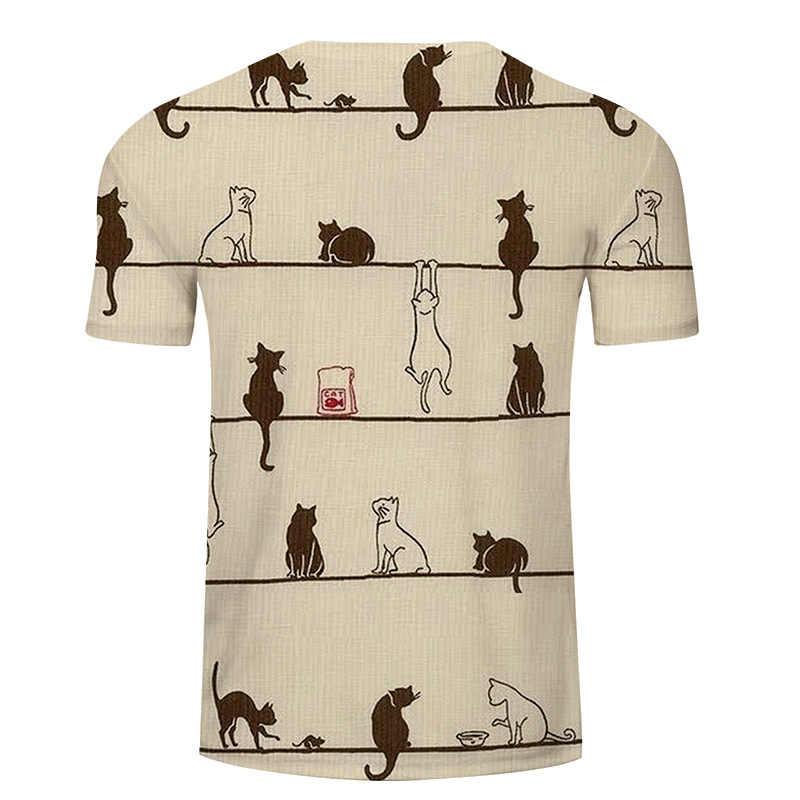 Impressão de lazer de verão dos homens e das mulheres t camisa, engraçado dos desenhos animados muitos gatos 3d impresso t camisa dos homens tamanho asiático s-6xl