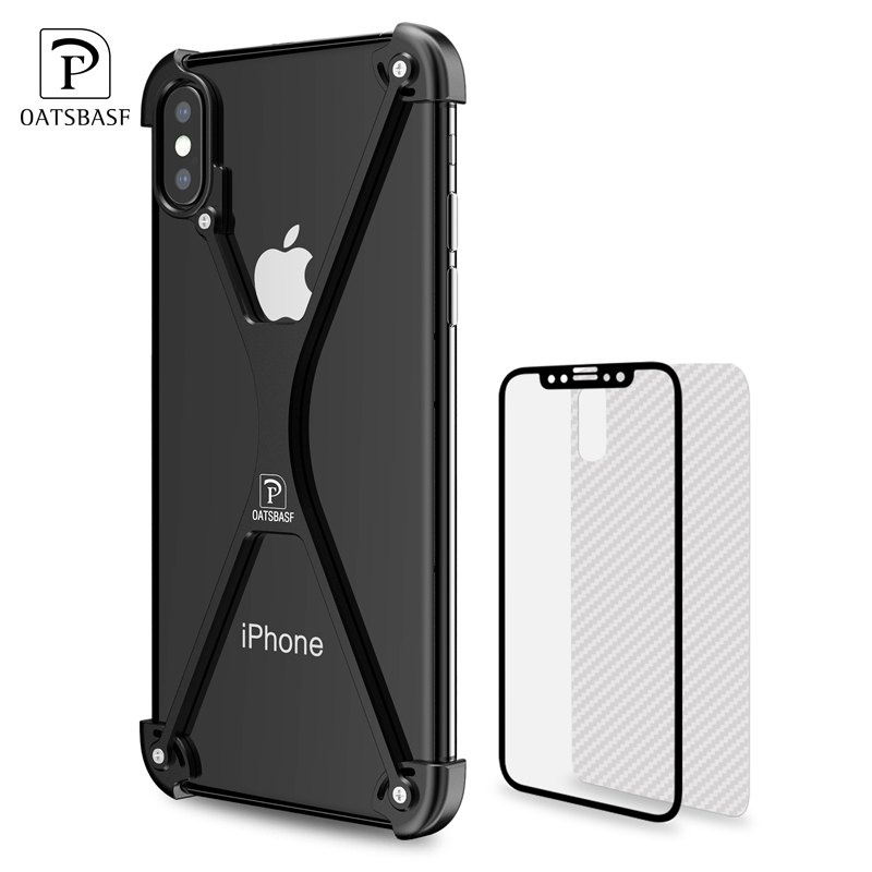 newest 607cd 1c942 X Shape Iphone X Personality Shell For Iphone X Case Metal Bumper Iphonex  With Gift Glass Film