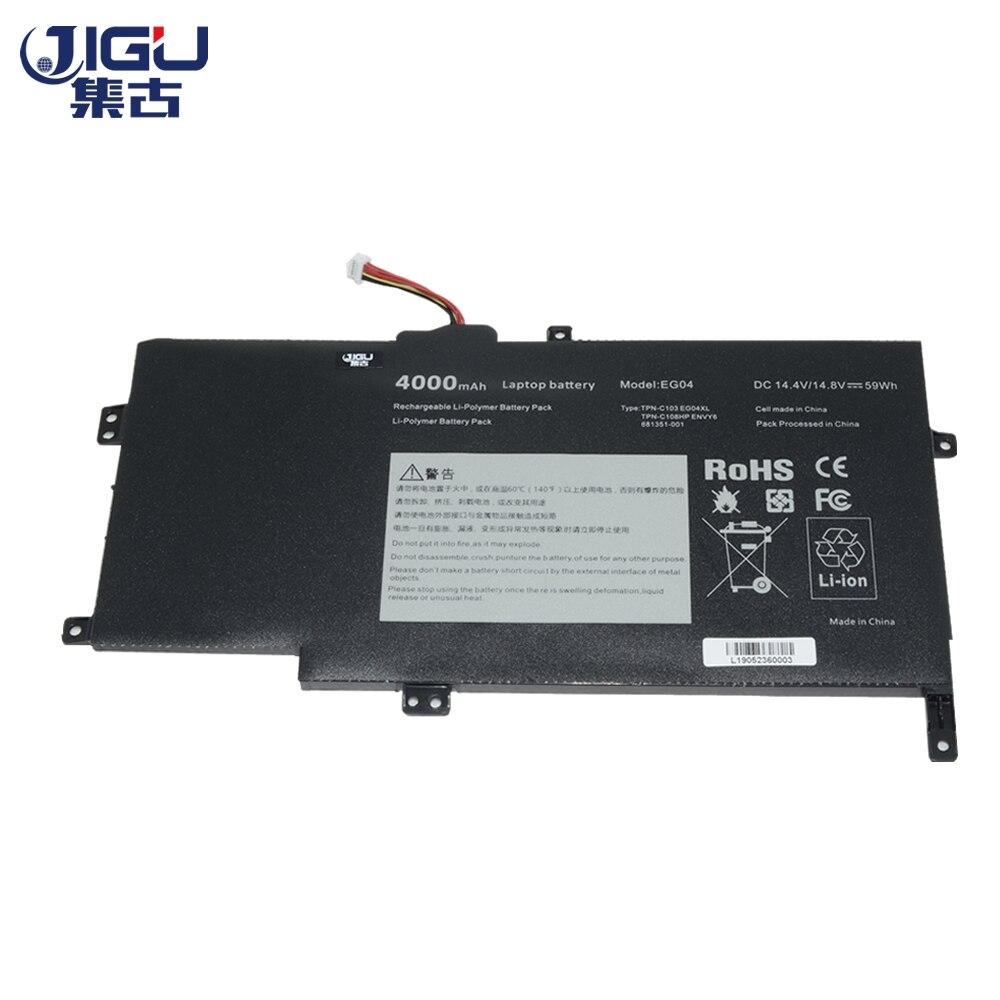 JIGU 4 Células Laptop Bateria EG04 EG04XL EGO4XL HSTNN-DB3T HSTNN-IB3T TPN-C103 6 TPN-C108 Para HP Envy Série Envy Sleekbook 6
