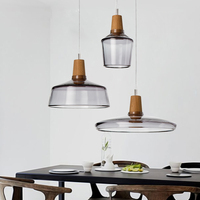 Modern Pendant Light Glass Wooden Lampshade LED Pendant Lamp For Dining Room Ceiling Lamp Hanging Kitchen