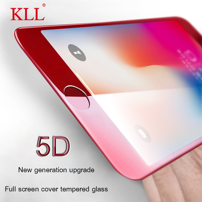 KLL 5D Full Cover Tempered Glass For iPhone 8 7 Plus ( 3D 4D Upgraded version ) For iPhone X 6 6s plus Screen Protector Film