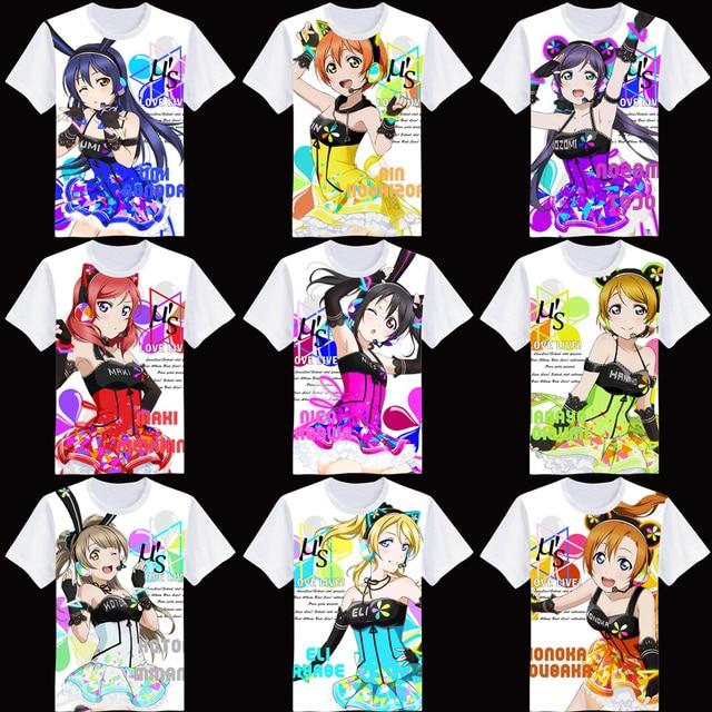 2017 New Summer Wholesale 2017 fashion Anime t shirt kawaii otaku love live Maki Nishikino MINAMI KOTORI HOSHIZ clothes