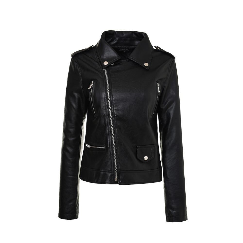 Black White font b Women b font PU Leather Zipper font b Jacket b font Short