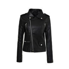 Black White Women PU Leather Zipper Jacket Short Streetwear Coat 2017 New Fashion Autumn Winter Ladies Basic Street