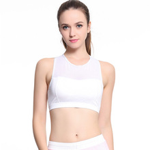 Women s Sports Bra Push Up Patchwork Transparent Mesh Cross Strap Top Fitness Running Clothing brassiere