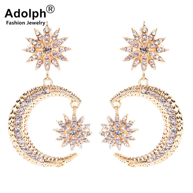 ADOLPH Jewelry 2018 New Gold Color Moon Statement Stud Earring For Woman  Fashion Crysatl Big Earrings 4adcb0ffc22a