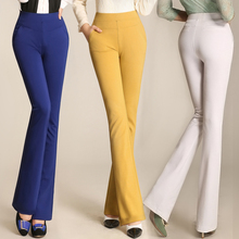 new 2016 spring summer candy color high waist elastic straight flare trousers plus size casual pants female C476